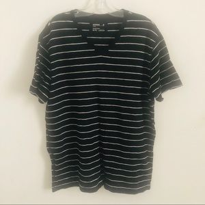 Express XL black and white stripe v neck tee